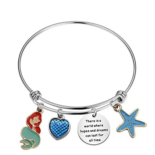 MYSOMY The Little Mermaid Quote There Is a World Where Hopes and Dreams Can Last For All Time Bracelet Ariel Jewelry (Hopes and Dreams br)
