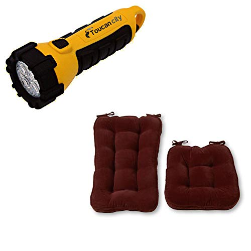 Toucan City LED Flashlight and Greendale Home Fashions Hyatt Bury 2-Piece Jumbo Rocking Chair Cushion Set JR5161-BURY