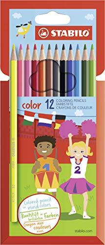 Buntstift - STABILO color - 12er Pack - mit 12 verschiedenen Farben inklusive 2 Neonfarben