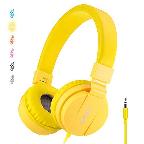 ONTA Cuffie per Bambini, Pieghevoli Leggere On Ear Auricolari per Bambini Ragazzi e Ragazze, Comode Audio Cuffie per Bambina per Cellulare/Smartphone/Tablet/ Mp3-giallo