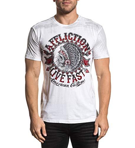 Affliction Mens American Customs Stampede Short Sleeve T-Shirt Cloud White