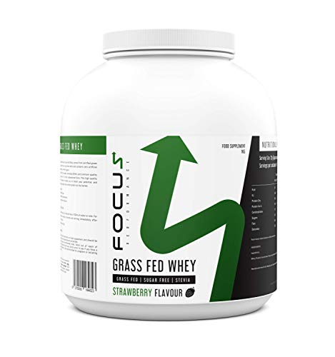 Focus Performance Grass Fed Whey Protein Powder 1KG, No Artificial Sugars or Sweeteners, Low Calorie and Low Carb Protein Shake for Post Gym Workout and Muscle Building (Strawberry)