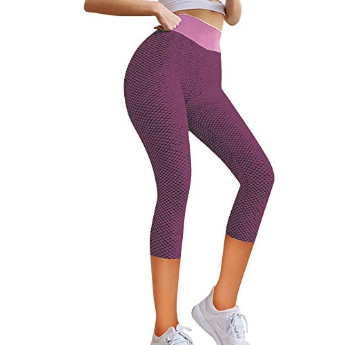 YANFANG Leggings de Yoga elásticos para Mujer, Fitness Correr Gimnasio Bolsillos Deportivos Pantalones Activos,Ropa de Chandal,, M,Pink