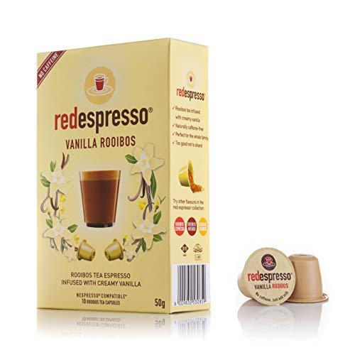 Red Espresso - Vanille Rooibos Tee (10 Kapseln) - Nespresso kompatibel - Natürlich - Vegan - Glutenfrei - Ohne Zuckerzusatz (50 g)