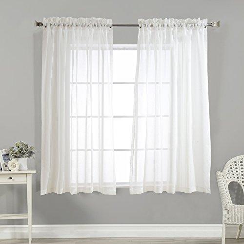 TOPICK Voile Vorhang mit Stangendurchzug transparent Gardine 2 Stücke Gaze paarig Fensterschal Vorhänge 160 cm x 140 cm (H x B),2er-Set,Weiß
