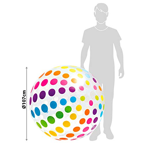 """Intex Jumbo Inflatable 42"""" Giant Beach Ball - Crystal Clear with Translucent Dots, 1 Pack"""