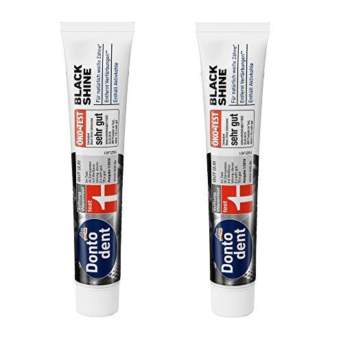 DONTODENT Black Shine Zahnpasta (2x 75 ml) Zahncreme Vegan - Original-Doppelpack von primeservice24®