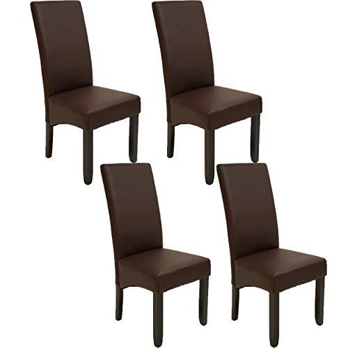 Pack de 4 sillas Osaka Color wengué de salón Comedor de Polipiel marrón y Acolchadas Modelo, Modernas, económicas. Altura 108cm / Asiento 49x49cm