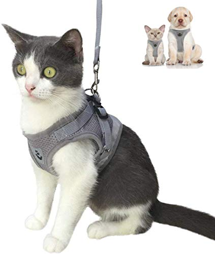 Cat Harness and Leash Escape Proof and Dog Harness Adjustable Soft Mesh Vest Harness for Walking with Reflective Strap for Pet Kitten Puppy Rabbit -Grey,XS