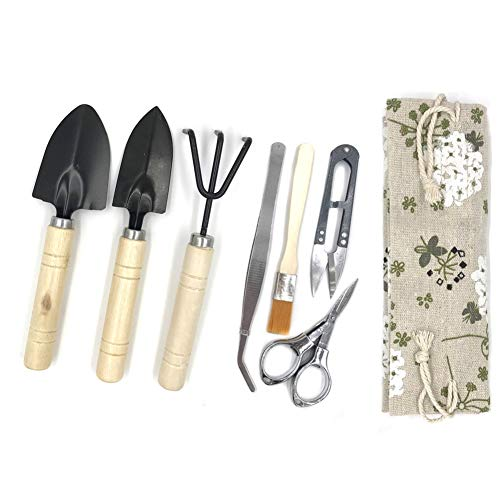 Bonsai Tool Kit, Bonsai Tree Kit Succulent Gardening Tools Set of 8 pcs Includes Pruning Shears, Mini Rake, Fold Scissors and More