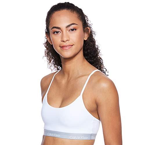 Calvin Klein underwear Bralette 000QF1536E, Reggiseno Sportivo Donna, Bianco (WHITE 100), 36 (Taglia Fabricante: M)