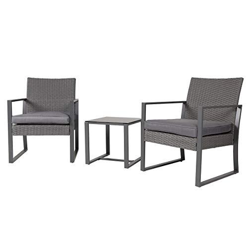 SVITA LOIS Poly Rattan Sitzgruppe Gartenmöbel Metall-Garnitur Bistro-Set Tisch Sessel grau