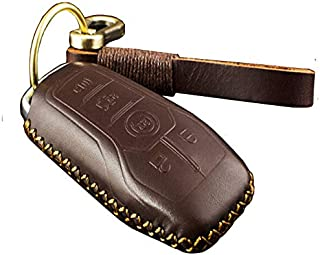 KMT Genuine Leather Keyless Remote Fob Case Car Cover fit Ford F-150 LINCOLN FUSION MKZ MUSTANG MKC 5 Buttons Smart Key (Brown)