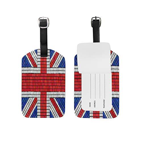 Bandera De Inglaterra UK Equipaje Etiquetas de Maleta Nombre Etiqueta de Dirección ID de Cuero para Viajes(2piezas)
