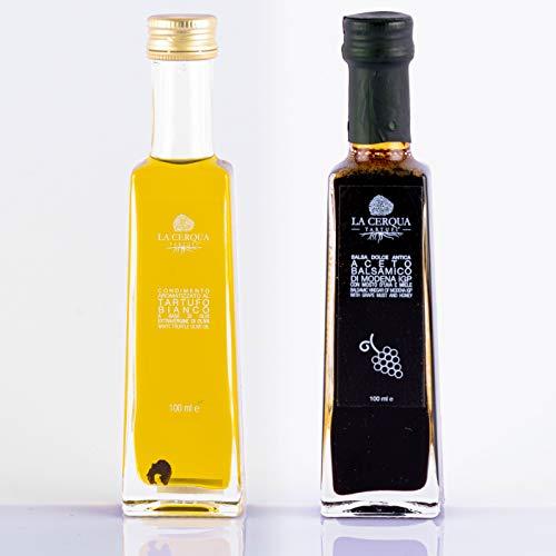 Olio di Tartufo Bianco e Aceto Balsamico IGP Set (2 x 100 ml) Condimento per Pasta Gourmet - Condimento per Formaggi