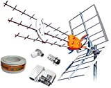 Kit Creado por TECNOVOZ de la Marca Antena TELEVES HD 149922 (Corte 700 MHz ch 21-48)+20MT Cable+Fuente TELEVES 5795 +Conectores DE Antena Tipo F Y CEI …