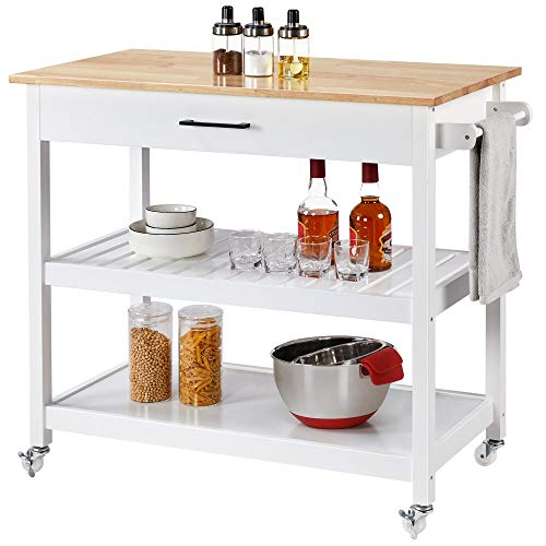 YAHEETECH Kitchen Island with Wheels, 3 Tier Rolling Kitchen Cart with 1 Drawer and 2 Spacious Storage Shelf Solid Wood Countertop, White