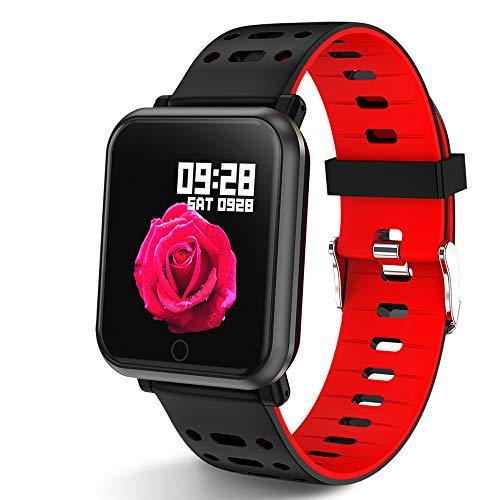 Polywell Fitness Armbanduhr mit Herzfrequenz, Fitness Tracker, Bluetooth Sportuhr Aktivitätstracker Schrittzähler, Schlaf Monitor, Kalorienzähler (Black red)