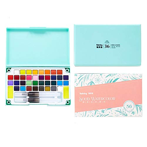 NNTTY 36 Watercolor Paint Set, Professional Painting Sets with 2 Watercolor Paint Brush Pens,Palette,and Storage Case,Perfect Watercolor Pan Set for Watercolor Paintings,Mini Travel Watercolor Kit