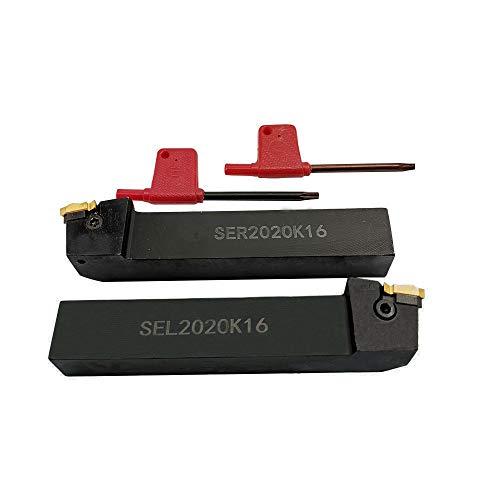 SER2020K16 + SEL2020K16 CNC Drehmaschine Hartmetall Wendeschneidplatte Drehwerkzeughalter Mit 2PCS 16ER / IR AG60 BP010 Wendeschneidplatte Hartmetall Wendeplatte + 2 Schlüssel T15
