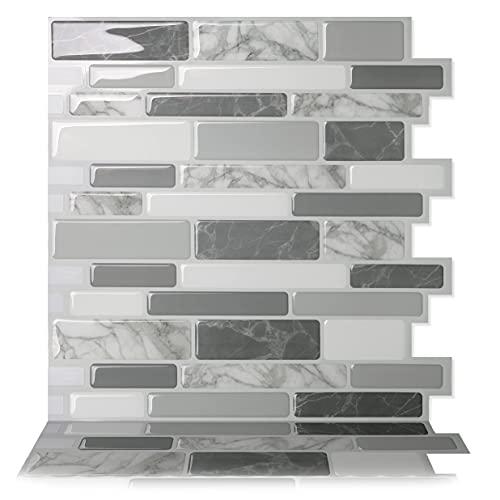 Tic Tac Tiles 30cm x 30cm, 10 Láminas 3D Azulejos Adhesivo Azulejos de Mosaico la pared para Cocina y Baño - Polito Gris (Blanco Mármol Gris)