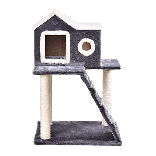 YSJSPKK Árbol para Gatos 36'Torre Tower Condo Rasguño Posts Ladder Cat Tree 2 Capa Gato Escalada Árbol Rasguño Tablero Poster Cat Jumping Standing Fram (Color : Gray, Size : L)