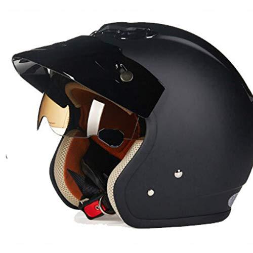 ZHEN Casco Moto Jet,ECE Homologado -Casco Moto Abierto Custom Scooter para Mujer Hombre Adultos con Doble Visera-Negro