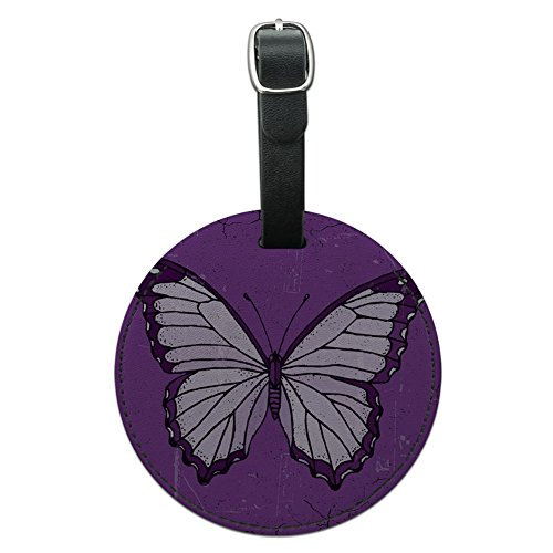 Graphics & More Butterfly Artsy Purple Round Leather Luggage Id Tag Suitcase Carry-on, Black