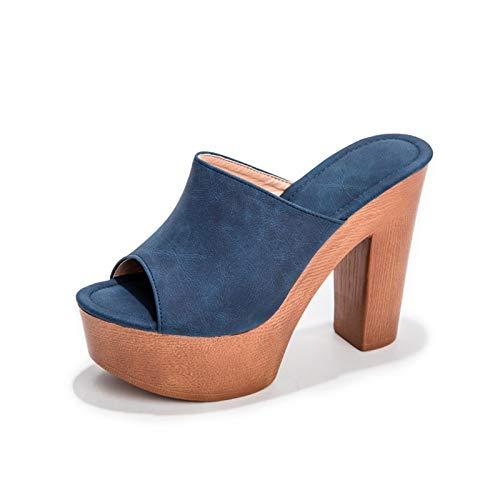 XKDWAN Mujer Sandalias con Cuña Verano 2021 Tacón Plataforma Alta Sandalias Punta Abierta Roma Flip Flop Playa Zapatos,Azul,38