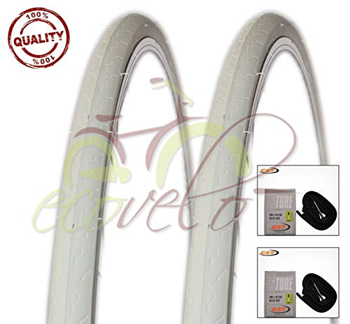 CST Kit 2 Copertoni 700 X 25C (25-622) + 2 camere d'Aria Bici Ciclo Scatto Fisso Bianco