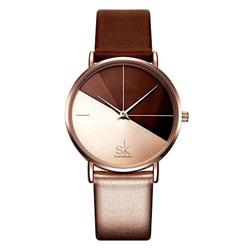 SHENGKE Damen Armbanduhr Kreative Frauen Uhren Marke Uhr Frauen Mesh Kleid Uhr Echtes Leder (K0095-Rosegold&Brown)