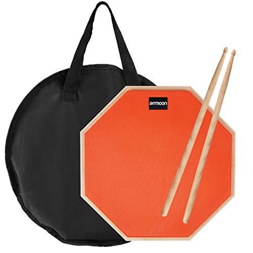 ammoon 12 Inch Drum Practice Pad, Pad de Prácticas, Con Baquetas, Bolsa de Transporte, práctica almohadilla de batería Transporte para Entrenamiento(naranja)