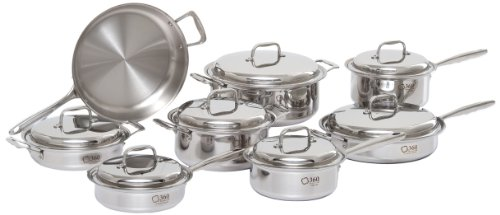 360 Stainless Steel Cookware Set, Handcrafted in the USA, Induction Cookware, Waterless Cookware, Dishwasher Safe, Oven Safe, Surgical Grade Stainless Steel Cookware, Pots and Pans Set (15 Piece Set)