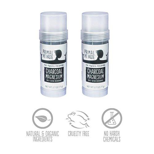 2 PACK - Primal Pit Paste - Charcoal Magnesium Daily Detox Deodorant STICK - 2.7 oz (77g)