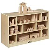 ECR4Kids-ELR-17201 Birch 9-Cubby School Classroom Block Storage Cabinet with Casters, Natural, 36' W