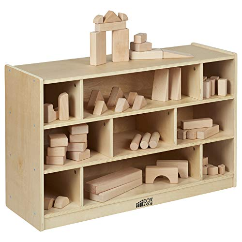 ECR4Kids Birch 36 in Medium Cubby Block Storage Unit with Rolling Casters, Natural Hardwood Shelving for Kids Classroom, Mobile Toy Organizer for Homes and Playrooms