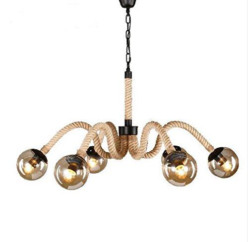 BWLZSP Loft Personalidad cáñamo Cuerda Chandeliers Red de Viento Industrial Retro café Tienda de Ropa lámparas de país Americano lu129213py
