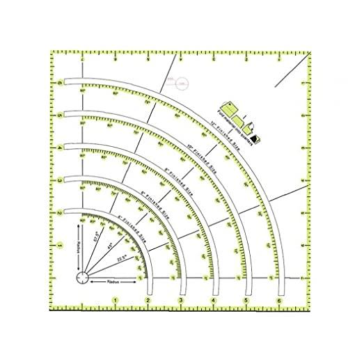 lujiaoshout Multifuncional Arcos y Fan edredón Circle Cutter Regla de Costura Herramienta de Bricolaje Regla de Corte Remiendo Regla de Coser Herramientas artesanales para la Cocina