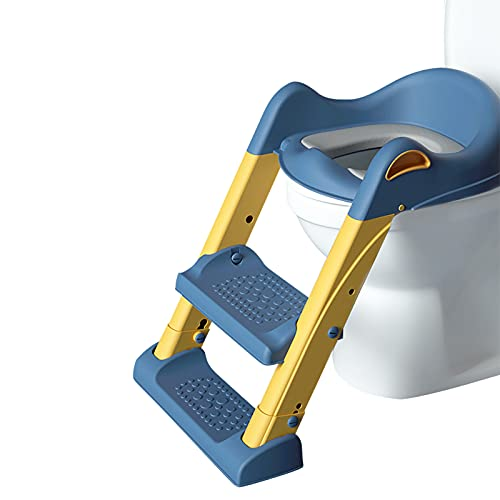 SONARIN Asiento Inodoro Niños con Escalera para Orinal Infantil Formación, Asiento de Entrenamiento para IR al baño, Adaptador WC para Niños Acolchado Suave con Escalón Plegable Ajustable(Azul)