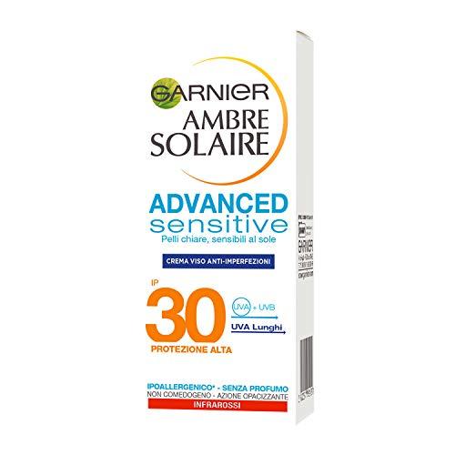 Garnier Ambre Solaire Crema Viso Anti-Imperfezioni Advanced Sensitive, SPF 30, Protezione Alta, Arricchita con Acido Salicilico e Radice di Zenzero, 50 ml