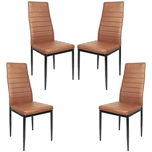 4 Unids/Set Sillas De Comedor Modernas Y Elegantes De 8 Compartimentos, Sillas De Cuero, Sillas De Cocina, Muebles De Comedor (Color : Brown)