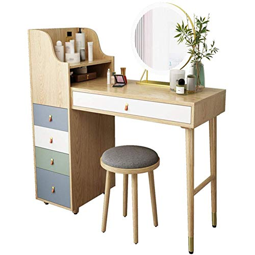 Review Of HDZWW Vanity Table Wood Color Makeup Table with Mirror and Drawers Bedroom Dressing Table ...