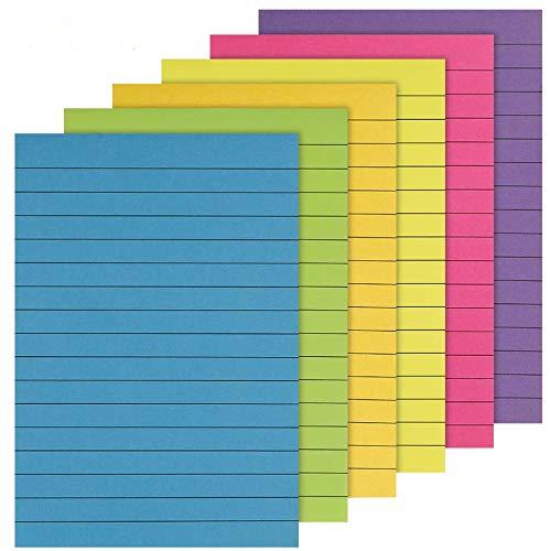 limewie 6 Stück Haftnotizen, Farbige Klebezettel, Selbstklebende Sticky Notes, Notizblöcke, Klebemarkierungen für Büro und Studenten, Liniert, 50 Blatt, 100 x 150 mm