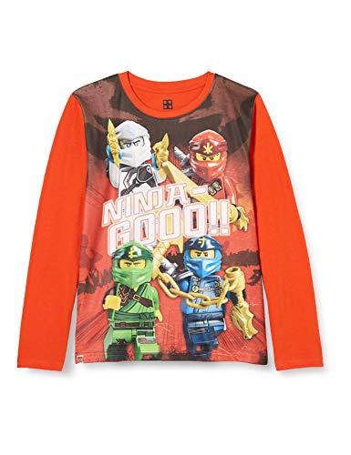 LEGO Jungen MWh-Langarmshirt Ninjago T-Shirt, 338 Orange, 128