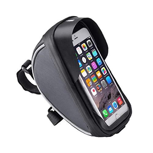 Bolsa de la bolsa del teléfono de la bicicleta Bolsa de montaje del teléfono de la bicicleta Bolsa de manillar de bicicleta Bolsa de marco de bicicleta Negro Bolsa de tubo superior de la bicicleta