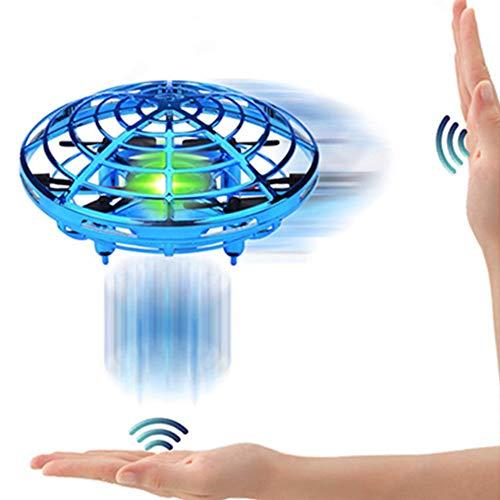 SPECOOL Mini UFO Drone Palla Giocattoli Mano Controllato Elicottero Sfera di Elicottero a Induzione Interattiva a Infrarossi Luci a LED Shinning Rotanti a 360 ° Aeromobile Natale Regalo (Blu)
