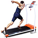 ANCHEER Treadmill for Small Spaces,Compact Treadmills with LCD Monitor Motorized,Pulse Grip and Safe Key,Top Indoor Exercise Machine Trainer Walking Jogging Running for Home & Office Workout (Orange)