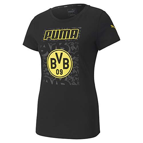 PUMA Damen BVB ftblCore Graphic Tee W T-Shirt, Black-Cyber Yellow, S