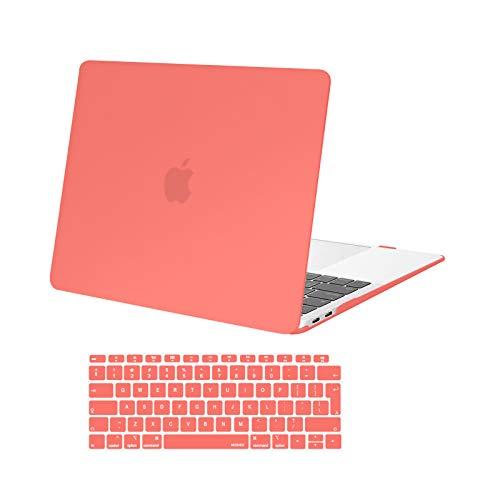 MOSISO Case Compatibile con MacBook Air 13 con Touch ID 2020-2018 Uscita A2337 M1 A2179 A1932 con Retina Display,Plastica Custodia Rigida Cover Shell&Tastiera Skin Cover, Living Coral