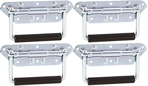 Adam Hall Hardware 34482 M4 AH - 4er Set Klappgriff / Kistengriff gefedert silber 6-Loch